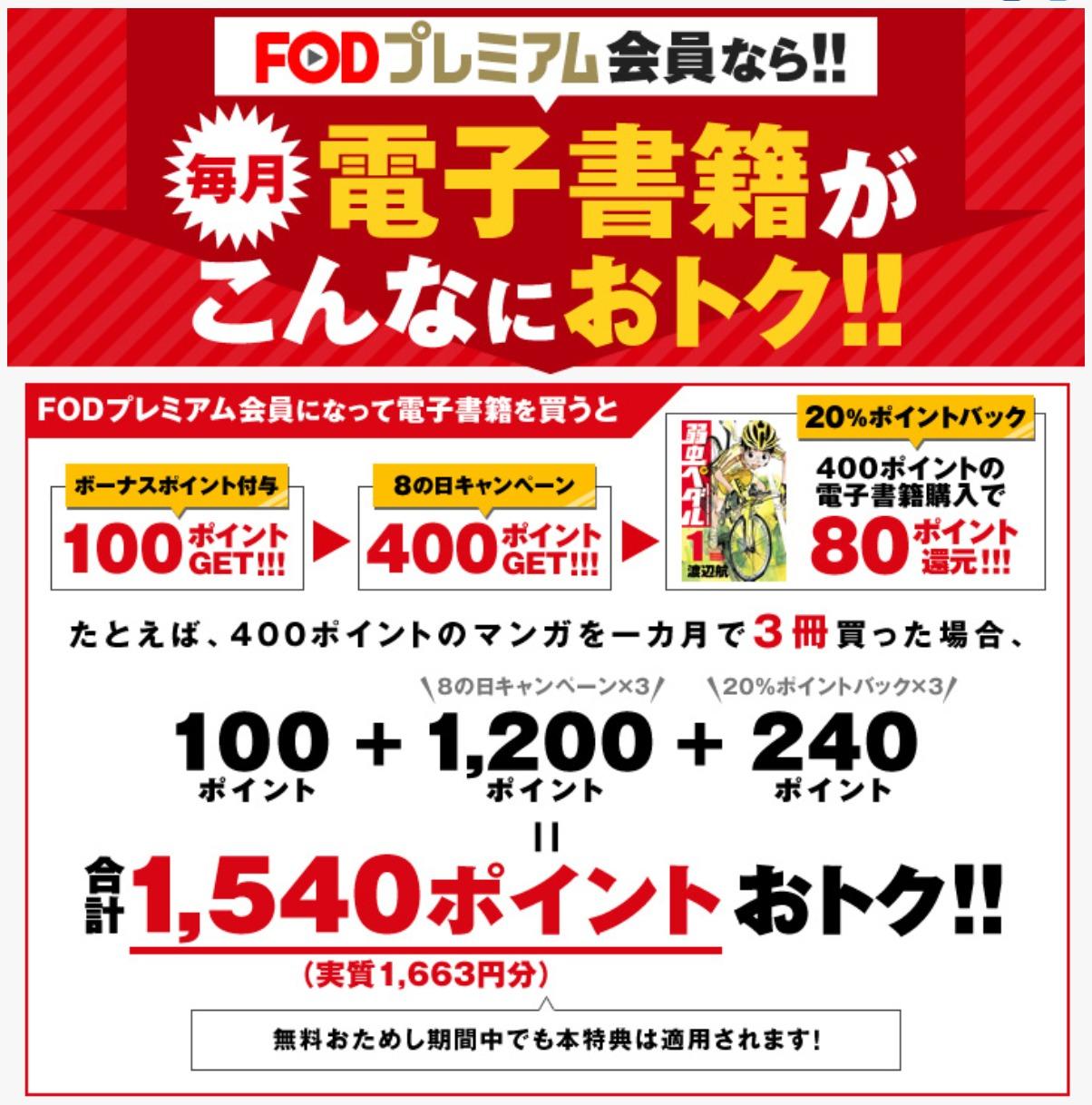FOD電子書籍購入で20%のポイント還元の説明画像