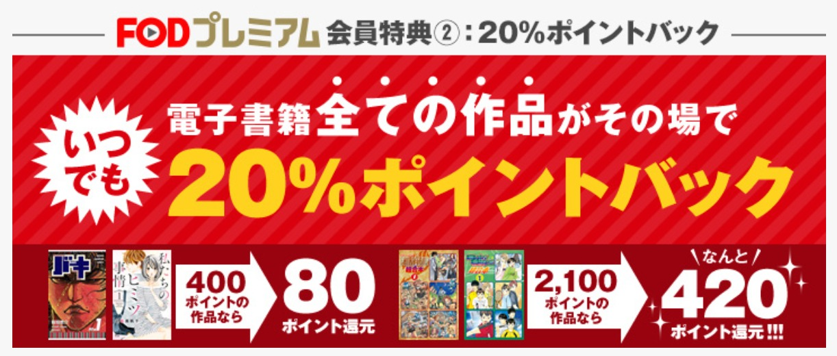 FOD電子書籍購入で20%のポイント還元