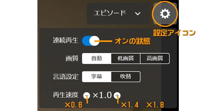 U-NEXTのPCブラウザでの動画再生操作画像