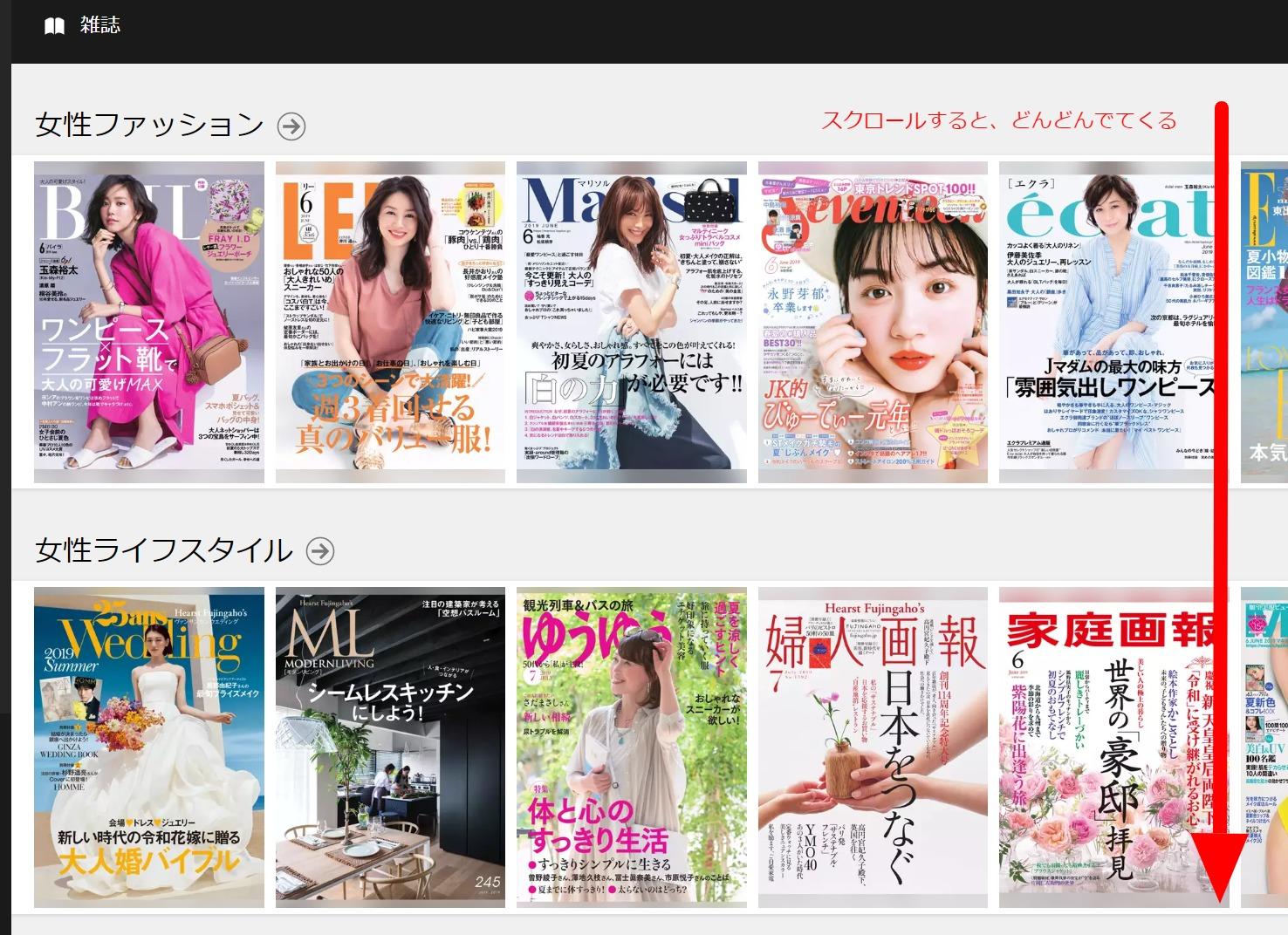 U-NEXT読み放題雑誌の一覧